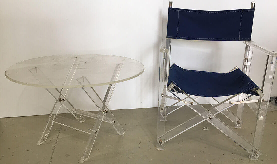 Plastic Fabrication | Cnc Laser Cutting | Gold Coast | Plastics Online | Perspex Directors Chair & Table Resized
